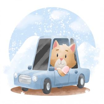 Gato bonito com ilustração de carro