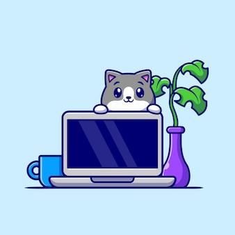 Gato bonito com ilustração de ícone de vetor de desenho animado portátil. conceito de ícone de tecnologia animal isolado vetor premium. estilo flat cartoon