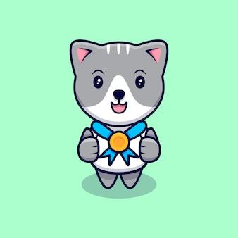 Gato bonito com ilustração do ícone dos desenhos animados da medalha de ouro. estilo flat cartoon
