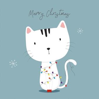 Gato bonito com luzes de Natal. Boas festas cartão.