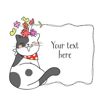 Gato bonito com moldura de flor e espaço em branco para o texto