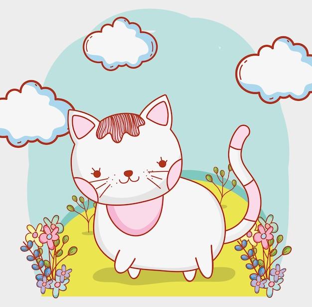 Gato bonito com nuvens e plantas de flores
