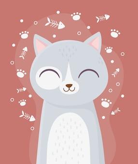 Gato bonito com olhos fechados animal espinha de peixe pata decoração ilustração dos desenhos animados