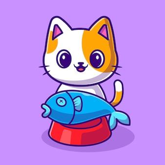Gato bonito com peixes na ilustração de ícone do vetor dos desenhos animados da tigela de comida. conceito de ícone de natureza animal isolado vetor premium. estilo flat cartoon