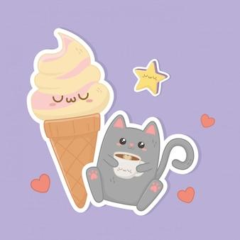 Gato bonito com personagens kawaii de café e sorvete