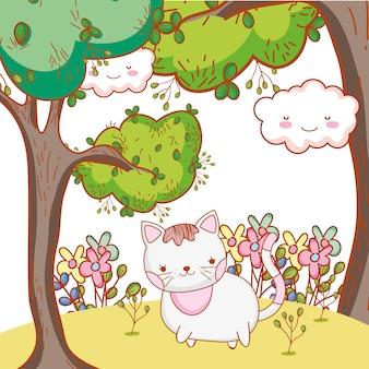 Gato bonito com plantas de árvores e flores