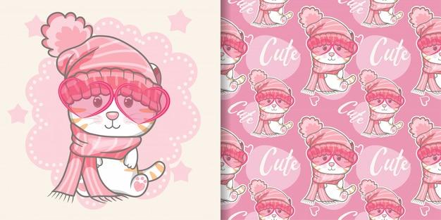 Gato bonito com rosa padrão sem emenda