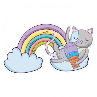 Gato bonito com sorvete no arco-íris