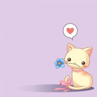 Gato bonito com vetor de flor azul