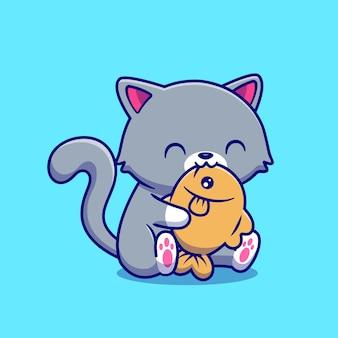 Gato bonito comendo peixe ilustração vetorial de desenho animado.