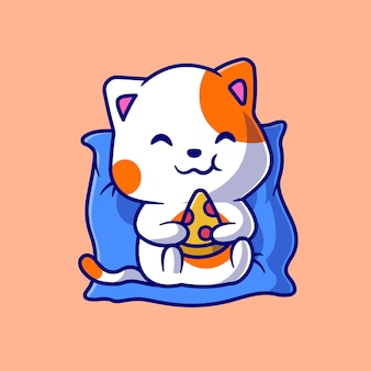Gato bonito comendo pizza no travesseiro cartoon icon ilustração vetorial. conceito de ícone de alimento animal isolado vetor premium. estilo flat cartoon