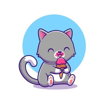 Gato bonito comendo sorvete. comida animal