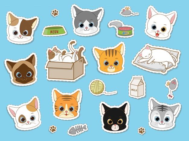 Gato bonito conjunto de coleta de adesivo, rabiscos de desenhos animados