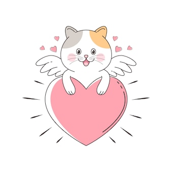 Gato bonito cupido pendurado no grande amor