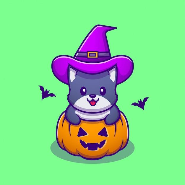 Gato bonito da bruxa com ilustração do ícone dos desenhos animados de abóbora de halloween. animal halloween icon concept premium. estilo desenho animado
