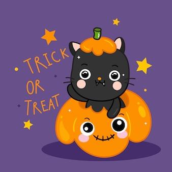Gato bonito de halloween com desenhos animados de abóbora doodle estilo