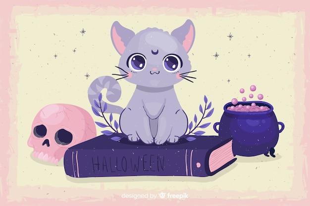 Gato bonito de halloween com design plano