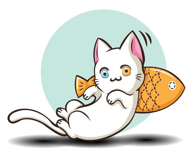 Gato bonito de khao manee dos desenhos animados. (khao manee é o gato tailandês do nome da espécie.)