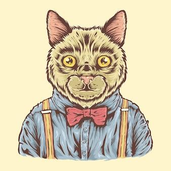 Gato bonito desenhado à mão com ilustração de camisa e bowties