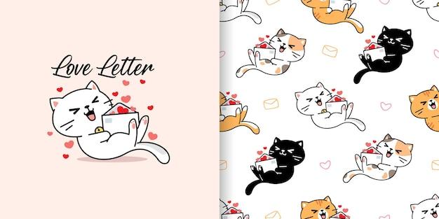 Gato bonito desenhado à mão com ilustração e padrão sem emenda de carta de amor