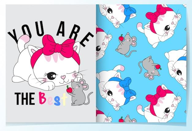 Gato bonito desenhado de mão com o conjunto de padrão de rato