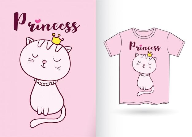 Gato bonito desenhado de mão para a t-shirt