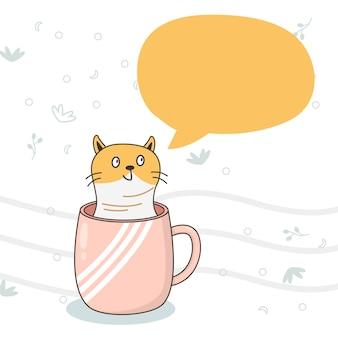 Gato bonito desenho de animais com balões de fala