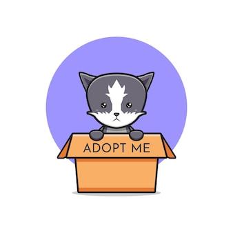 Gato bonito dizendo adote-me ilustração do ícone dos desenhos animados. desenhe o estilo de desenhos animados planos isolados