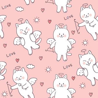 Gato bonito do cupido do dia de valentim dos desenhos animados e vetor sem emenda do teste padrão do amor.
