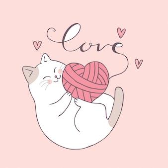 Gato bonito do dia de valentim dos desenhos animados e vetor do amor.