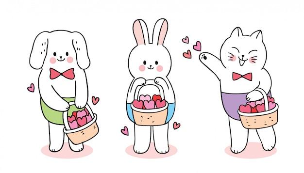 Gato bonito do dia dos namorados dos desenhos animados e cão e coelho e corações no vetor da cesta.