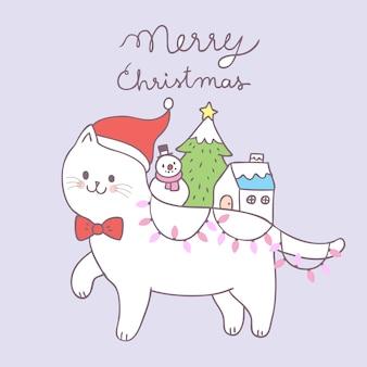 Gato bonito do natal dos desenhos animados e vetor da decoração.