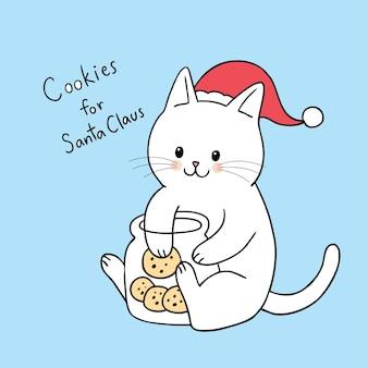 Gato bonito do natal dos desenhos animados que come o vetor das cookies.