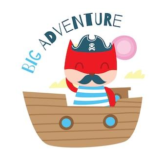 Gato bonito do pirata dos desenhos animados para a série do molde do projeto da t-shirt das crianças