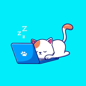 Gato bonito dormindo e trabalhando no laptop dos desenhos animados ícone ilustração vetorial.