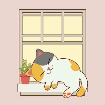 Gato bonito dormindo na janela com vaso de plantas em estilo simples. doodle dowload
