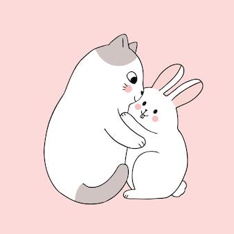 Gato bonito dos desenhos animados, abraçando o vetor de coelho.
