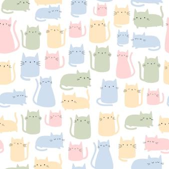 Gato bonito dos desenhos animados coloridos doodle padrão sem emenda