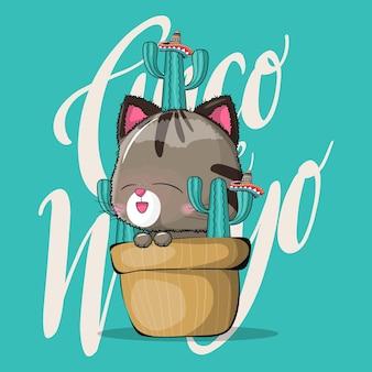 Gato bonito dos desenhos animados com cacto. cinco de maio