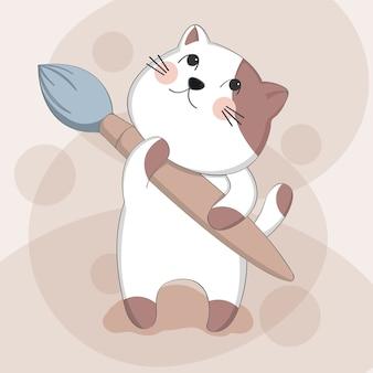 Gato bonito dos desenhos animados com caráter de animal de desenho de pintura