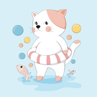 Gato bonito dos desenhos animados com caráter de animal de esboço de anel de vida