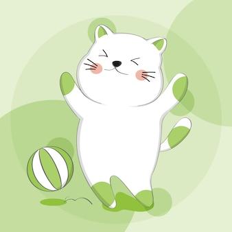 Gato bonito dos desenhos animados com caráter de animal de esboço de bola