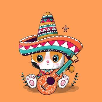 Gato bonito dos desenhos animados com chapéu do méxico. cinco de maio