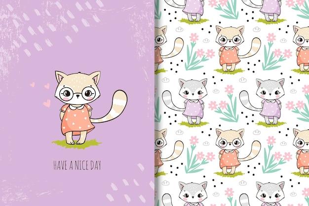 Gato bonito dos desenhos animados com flores e padrão sem emenda para crianças