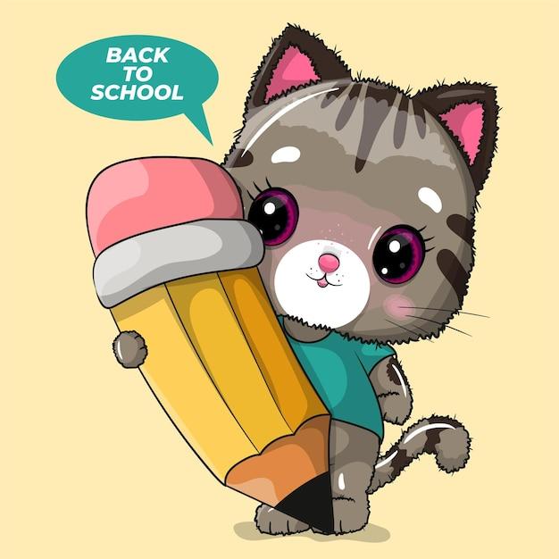 Gato bonito dos desenhos animados com ilustração de lápis e texto de volta à escola
