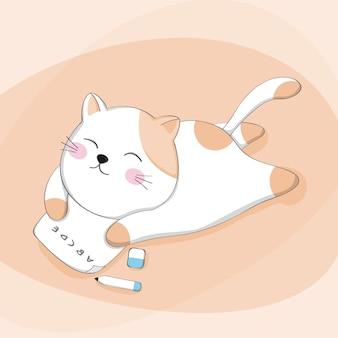 Gato bonito dos desenhos animados com o personagem animal de desenho de lição de casa