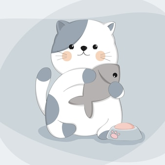 Gato bonito dos desenhos animados com peixe desenho animal personagem
