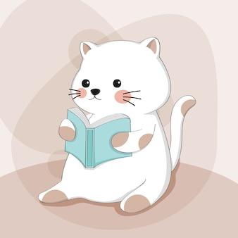 Gato bonito dos desenhos animados com personagem de animal de desenho de livro de leitura