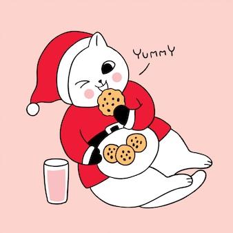 Gato bonito dos desenhos animados, comendo biscoitos e leite.