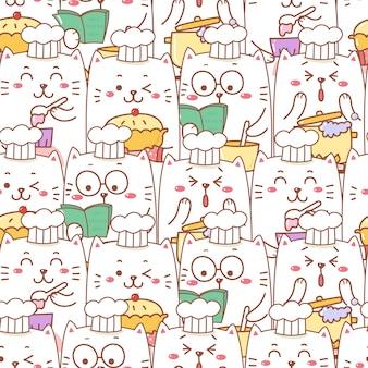 Gato bonito dos desenhos animados cozinhar padaria padrão sem emenda